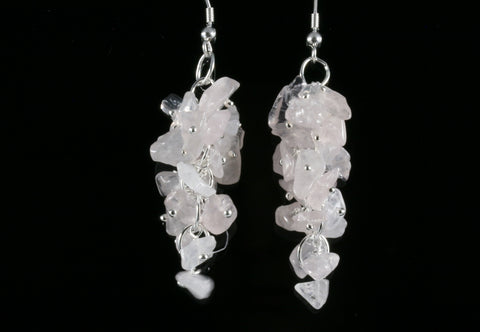 Rose Quartz Grape Chip Earrings