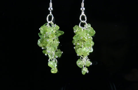 Peridot Grape Chip Earrings