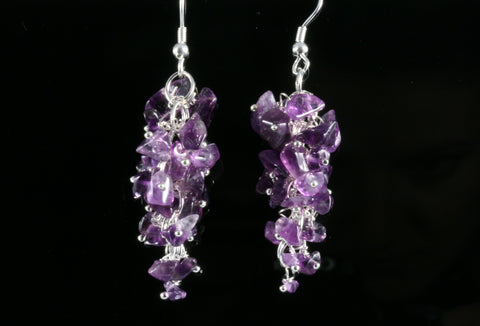 Amethyst Grape Chip Earrings in Sterling