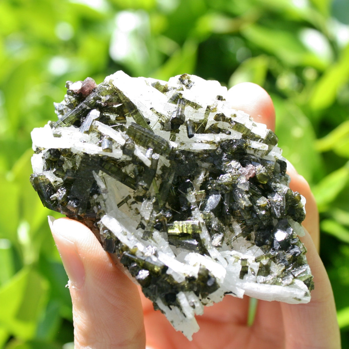 Green Tourmaline on Cleavelandite Cluster from Brazil, 74.5 grams