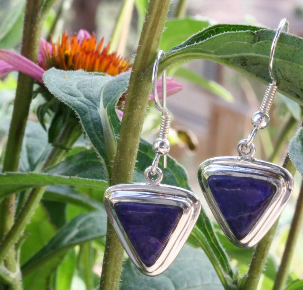 Sugilite Earrings, Bezel set in Sterling Silver from South Africa, 4.48 grams