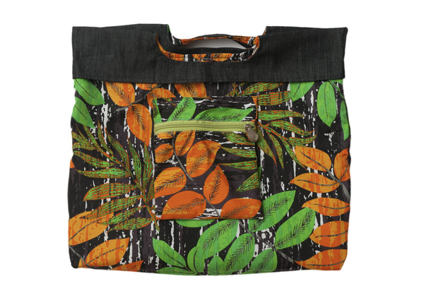 Vibrant green and orange amazon jungle scene. Reversible upcycled cotton ladies eco bag with zipper pocket. Sustainable, ethical on the go essentials for beach or city. Empowers women in Brazilian slums.