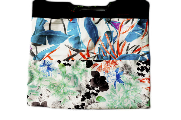 Zen flowers motif. Reversible upcycled cotton ladies eco bag with zipper pocket. Sustainable, ethical on the go essentials for beach or city. Empowers women in Brazilian slums.