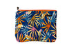 Upcycled handmade cotton ipad bag with zipper closure. Features vibrant amazonian flowers and birds. Sustainable, fair trade, ethically produced. Empowers women in Brazilian favela slums in Rio de Janeiro.