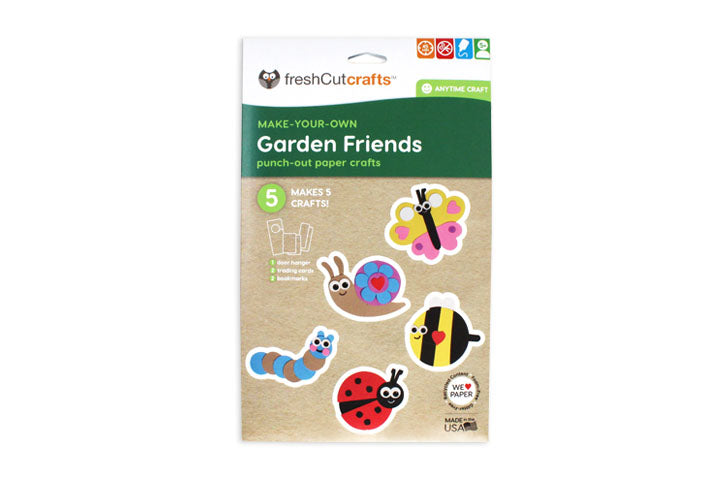 Garden Friends Punch-Out Paper Craft Kit – Makes 5 Characters