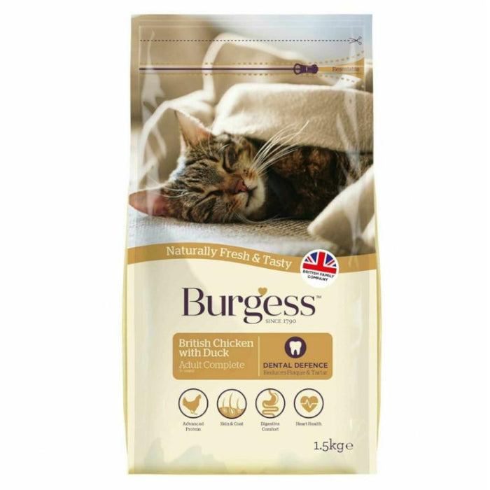 Burgess Adult Complete Cat Food Chicken and Duck 1.5kg