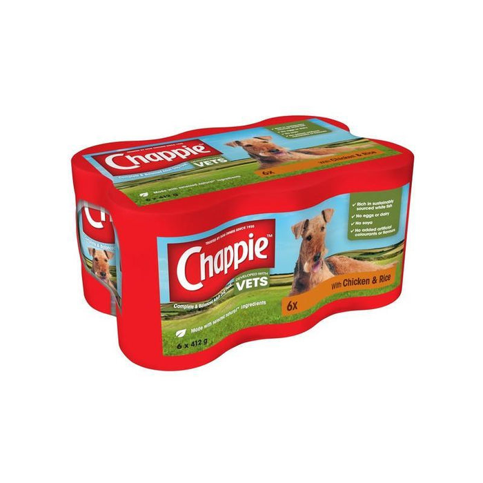 Chappie Dog Tins Chicken & Rice 412g x 24