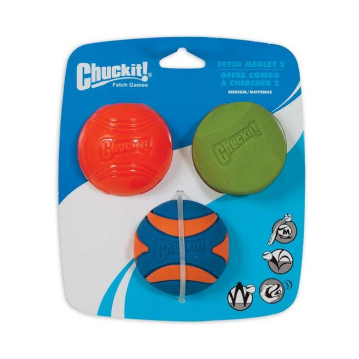 Chuckit Fetch Medley 2 Assorted Medium 3 Pack 6.5cm
