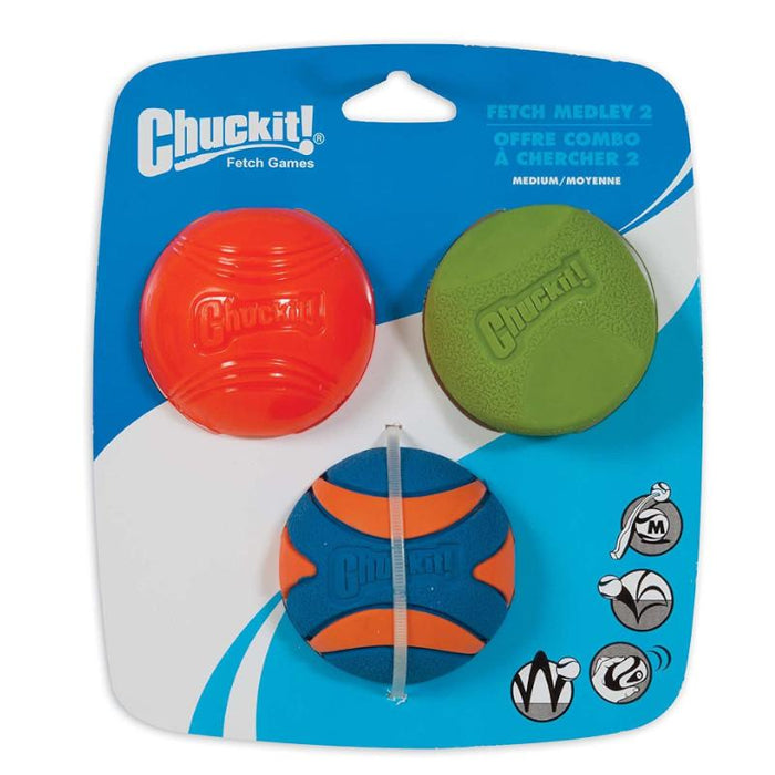 Chuckit Fetch Medley 2 Strato Erratic Ultra Squeaker Durable High Bounce Dog Ball Medium 3 Pack