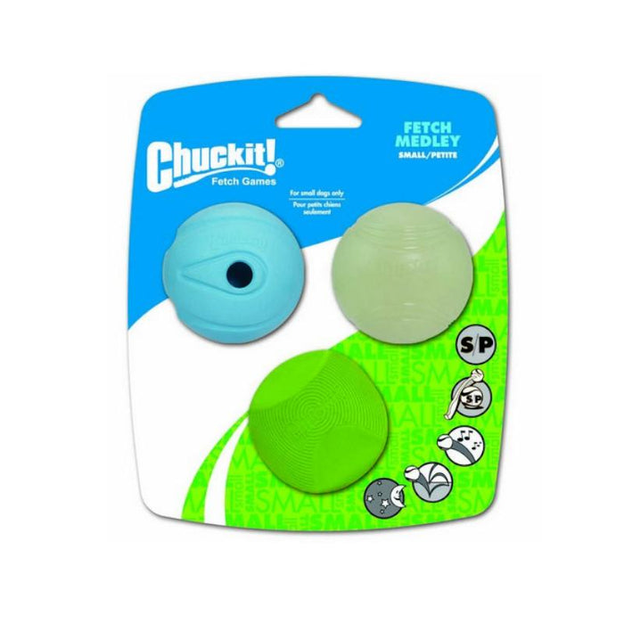 Chuckit Fetch Medley 3 Pack Assorted Small 4.8cm