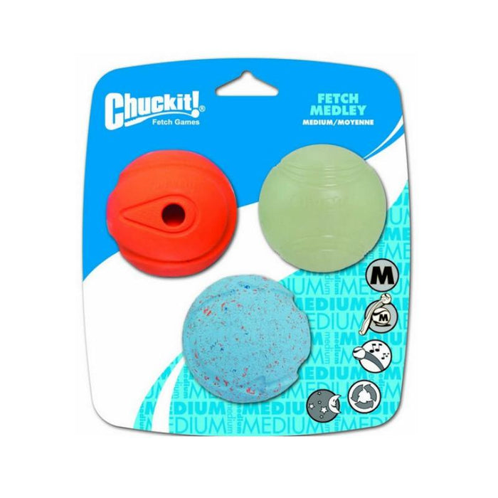 Chuckit Fetch Medley Assorted Medium (3Pk) 6.5cm