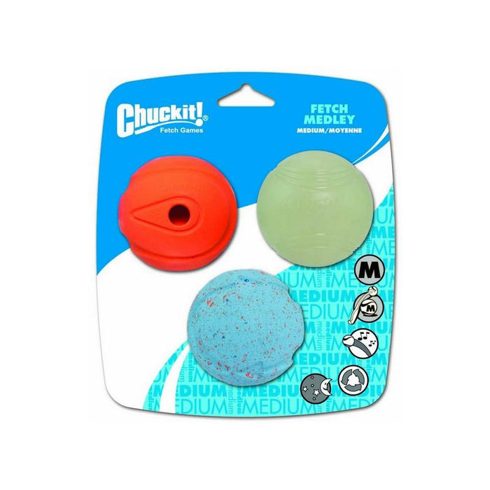 Chuckit Fetch Medley Assorted Medium 3 Pack 6.5cm