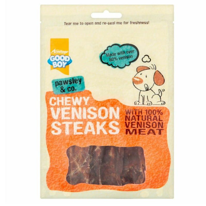 Good Boy Pawsley & Co Chewy Venison Steaks 80G