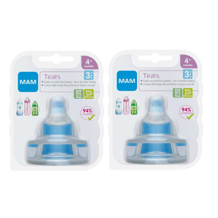 Mam Baby Bottle Teats Fast Flow - Twin Pack (4 Teats)