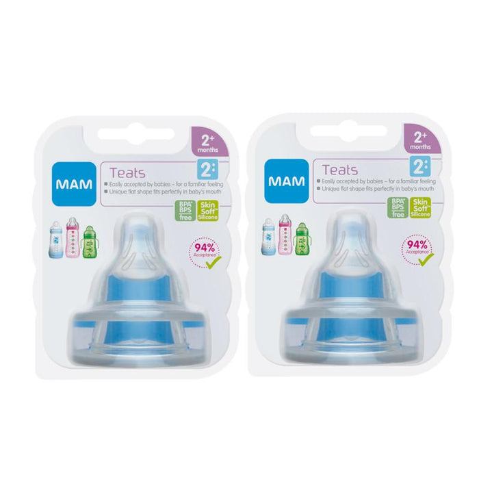 Mam Baby Bottle Teats Medium Flow - Twin Pack (4 Teats)