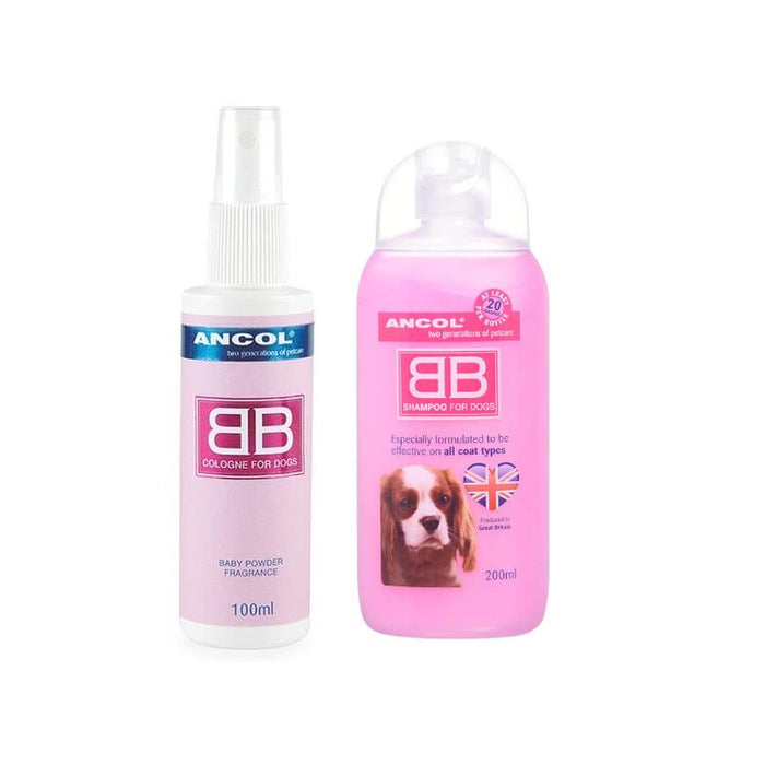 Ancol BB Dog Cologne & Shampoo New Baby Powder For All Coats