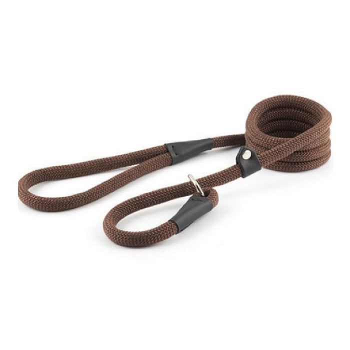 Ancol Timberwolf Machine Washable Deluxe Rope Slip Lead 1.5m x 12mm Chocolate