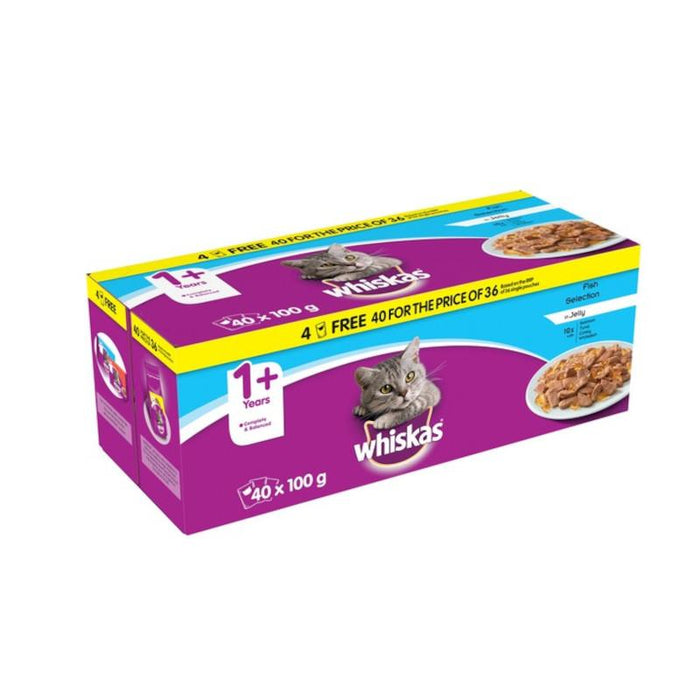 Whiskas 1+ Cat Pouches Fish In Jelly 100g 40 For The Price Of 36