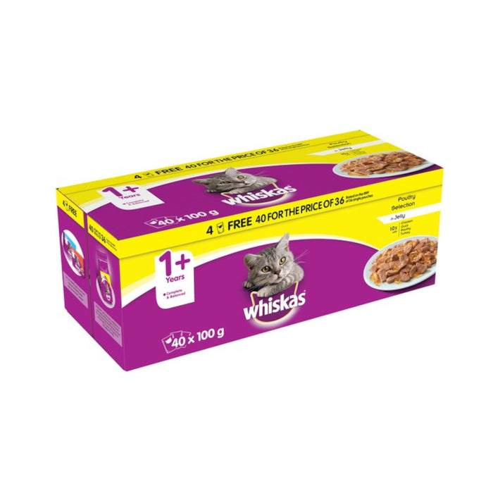 Whiskas 1+ Cat Pouches Poultry 100g 40 For The Price Of 36