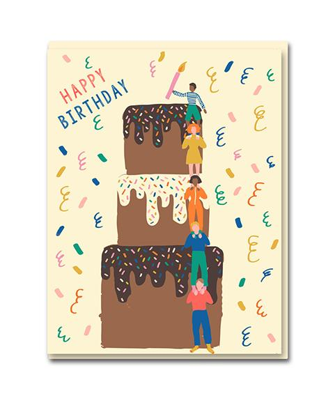 Happy Birthday Cake Tower Card