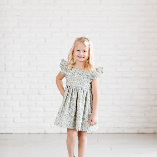 Pinafore Dress In Pond Floral