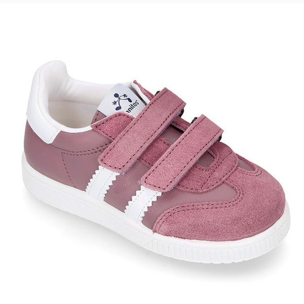 Leather Tennis Shoe With Velcro Dusky Pink