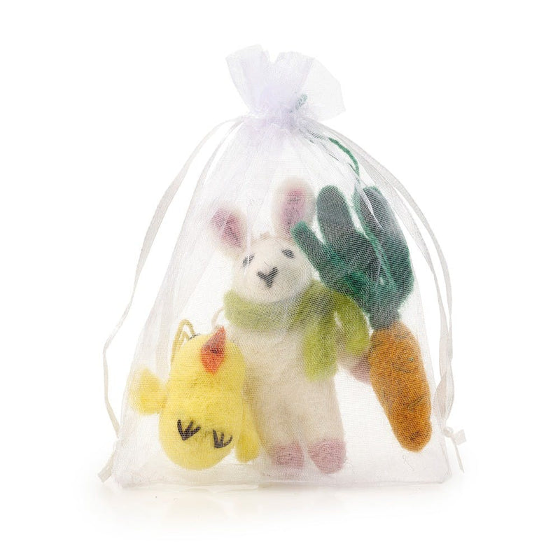 Handmade Needle Felt Easter Trio Hanging Decorations
