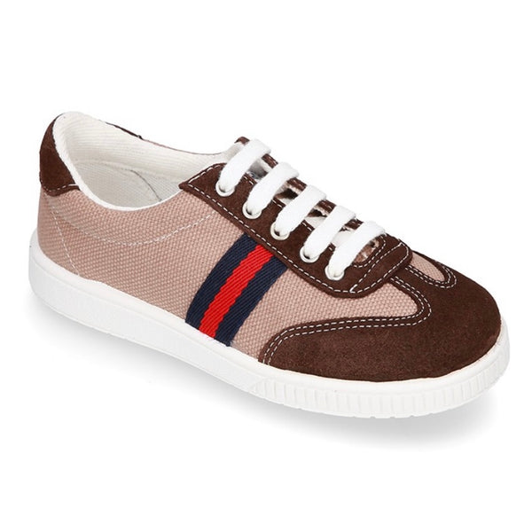 Suede Leather Tennis Shoe with Laces - Brown