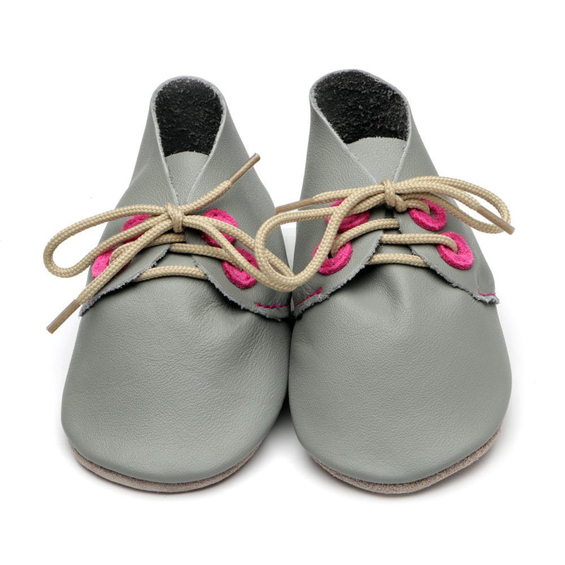 Derby Grey/ Pink Baby Shoes