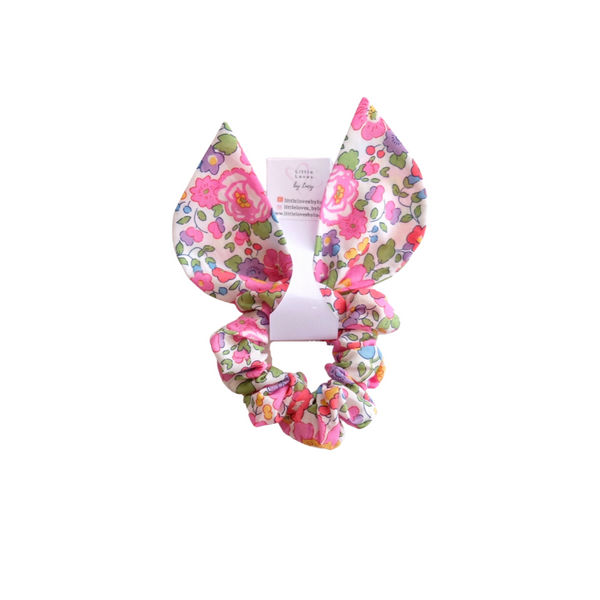 Liberty Print Betsy Hot Pink Bunny Scrunchie