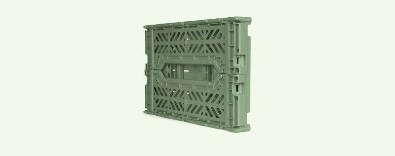 Folding Crate Small in Almond Green