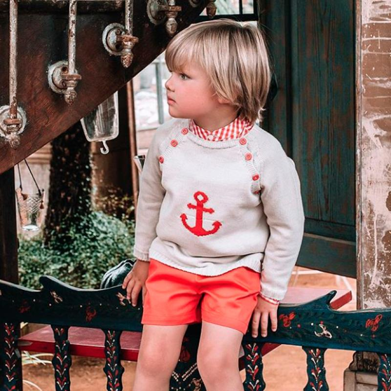Beige Jumper with Red Anchor