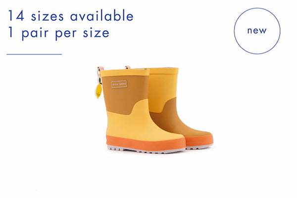 Rain Boots | Retro Yellow + Caramel Fudge + Carrot Orange