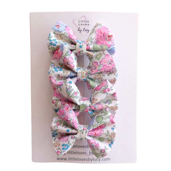 Liberty Print Felicite Mini Hair Bows x 4
