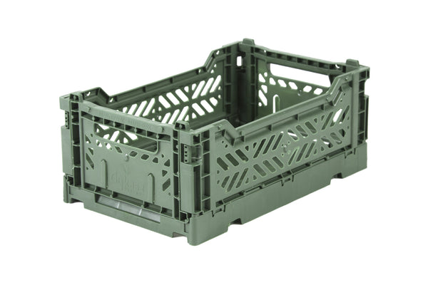 Folding Crate Medium in Almond Green