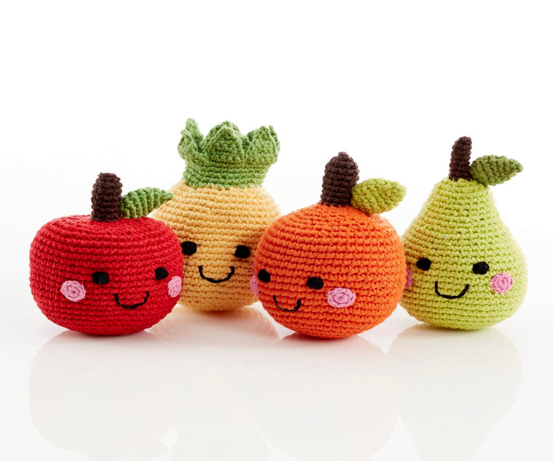 Fair Trade Friendly Fruit Crocheted Rattle Set of 4