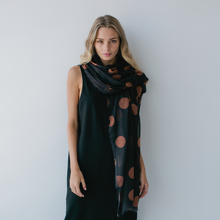 Load image into Gallery viewer, So spotty Maxi Scarf Black Toffee