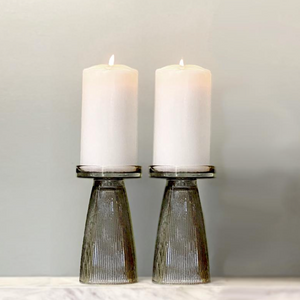 Charcoal Ripple Glass Candle Holder Set of 2