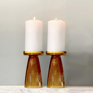 Amber Ripple Glass Candle Holder Set of 2
