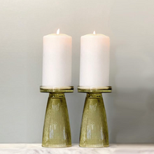 Load image into Gallery viewer, Olive Green Ripple Glass Candle Holder Set of 2