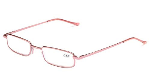 SOOLALA Lightweight Compact Reader Reading Glasses Reader w/Pen Clip Tube Case, LightPink, 2.5D