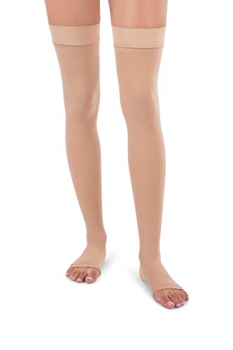 Jomi Compression Thigh High Collection, 30-40mmHg Surgical Weight Open Toe 341 (X-Large, Beige)