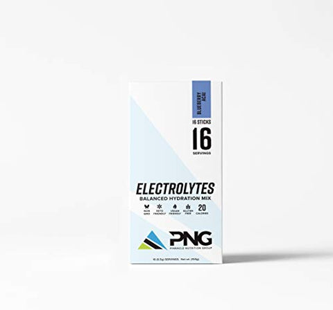 Pinnacle Nutrition Group Electrolyte Single Serving Sticks Balanced Hydration Drink Mix, Blueberry Acai, 16 Count (Blueberry Acai)