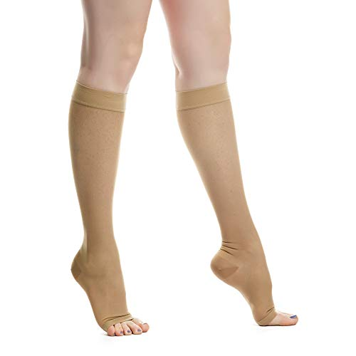 EvoNation Women's USA Made Open Toe Sheer Graduated Compression Socks 15-20 mmHg Moderate Pressure Medical Quality Ladies Knee High Toeless Support Stockings Circulation Hose (Medium, Tan Nude Beige)