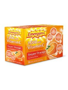 Emergen C Vitamin C Fizzy Drink Mix, 1000 Mg, Super Orange, 0.3 Ounce Packets 30 Packets.