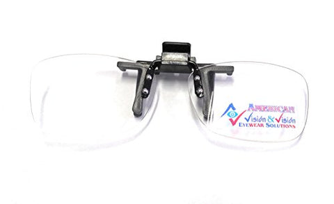 Clip On Reading Glasses 2.0, Readers Clip On and Flip Up Hassle Free Lenses, Magnifiers +2.00 By American Vision & Vision, Clear, 120 mm apx width of all frame