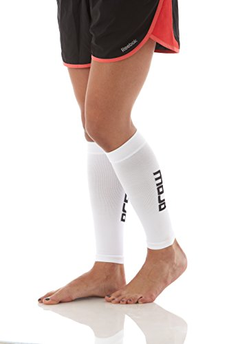 Compression Calf Sleeve, Pair of 2 Sleeves for Calf Strains, Running, Shin Splints, Varicose Veins, Injury Recovery & Prevention, 20-30mmHG, Mojo Compression (White, Small)
