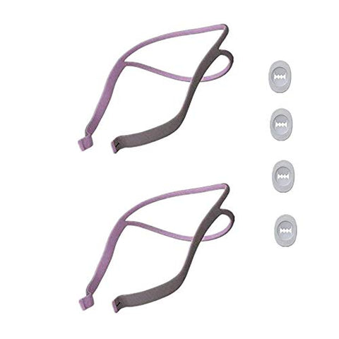 Replacement Headgear Strap Compatible with ResMed Airfit P10 Nasal Pillow CPAP Cover, 2 Pcs with 4 Clips (Purple)