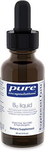 Pure Encapsulations - B12 Liquid - 1,000 mcg Vitamin B12 (Methylcobalamin) Liquid for Nerve Health and Cognitive Function - 1 fl. oz