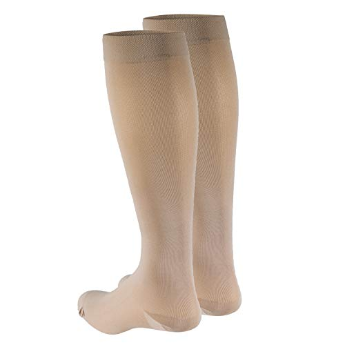 Truform Women's Compression Stockings, 15-20 mmHg, Knee High Length, Closed Toe, Opaque, Beige, Medium